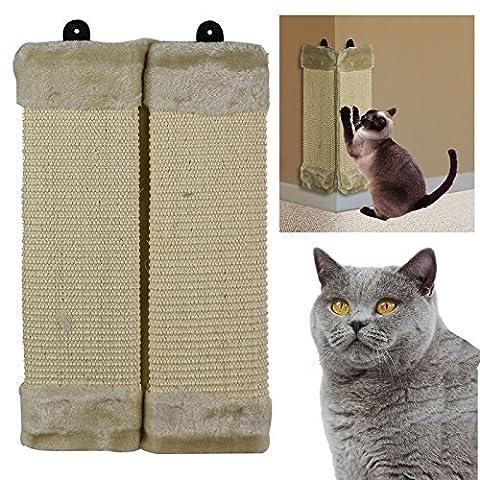 Asab pour chat chaton à suspendre à fixation murale d'angle Bend Griffoir en sisal Tableau Tapis de protection Meuble papier peint