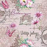 20 Servietten Blumen Vintage Blumenmuster rosa Geburtstag zeitlos modern 33 x 33cm
