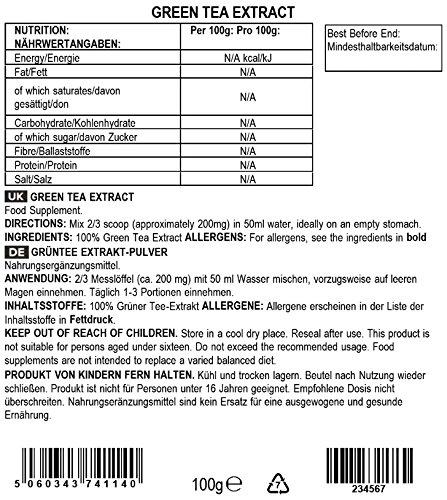 BULK POWDERS Grüntee Extrakt-Pulver, 100 g