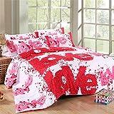 DOTBUY 3D Bettbezug Set, 4 Stück Super Weiche und Angenehme Mikrofaser Einfache Bettwäsche Set Gemütlich Enthalten Bettbezug Bettlaken & Kissenbezug Betten Schlafzimmer (200x230cm, Rot rosa weiß)