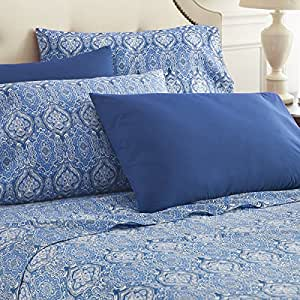 Spirit Linen Hotel 5th Ave 6 Piece Lux Home Paisley Sheet Set, King, Navy