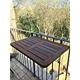 Click-Deck - Mesa plegable de madera noble para colgar en el balcón, mesa auxiliar para la baranda, comedor, jardín y barbacoa