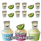 prédécoupés Tequila et photos de citron vert-comestible pour cupcakes/gâteau Décorations (lot de 12)...