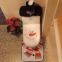Zhuhaimei,Creative Decoracion de Navidad muñeco de Nieve WC Cubrir Establece 3pcs(Color:Blanco)