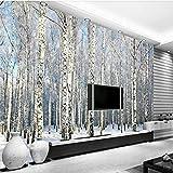 Weaeo Modernes, Minimalistisches Birke Schnee Landschaft Fernseher Sofa Hintergrund Wand Benutzerdefinierte Großes Wandbild Tapete Grün 200 X 140 Cm