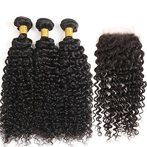 Moresoo Virgin Weave Human Hair Femmes extensions de cheveux brésiliens vierges 100% humains Kinky Curly Naturel Premium 3 Bundle trame + 1 lot de Dentelle Fermeture Frontal 4*4 (14\\