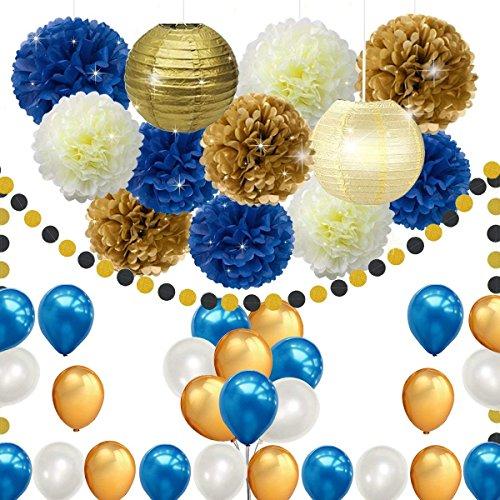 Erosion 43 stück DIY Marineblau Gold Partydekorationen liefert blauen Geburtstag Baby Shower Pary Dekor blau Gold Creme Papier Pom Poms Laternen Luftballons Dot Papier Garland Hochzeit, Bridal Shower