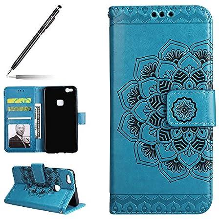Uposao Kompatibel mit Huawei P10 Lite Handyhülle Leder Flip Hülle Leder Brieftasche Handytasche Ledertasche Lederhülle…