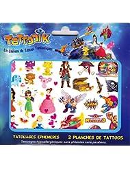 TATTOOIK MIXTE tatouage ephemere temporaire hypoallergénique Fabriqué en FRANCE Fille et Garçon. 2 planches 40 tattoos environ Enfant