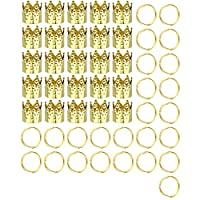 Weanty 50Pcs Hair Rings Braid Rings Hair Hoops Crown Hair Loop Clips Cuffs Beads Braiding for DIY Craft Jewelry Hair Accessory size 1cm (Gold)