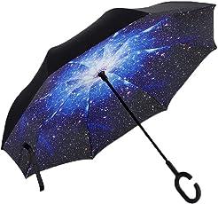 Vetci - Large Reverse Umbrella, UV-Proof with C Shape Handle (Starry Sky Blue)