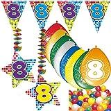 Carpeta 54-Teiliges Partydeko Set * Zahl 8 * für Kindergeburtstag Oder 8. Geburtstag mit Girlande, Rotorspiralen, Luftschlangen und Vielen Luftballons