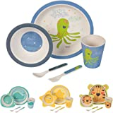 BIOZOYG Set da Cucina in bambù per Bambini da 5 Pezzi Motivo: Polpo I Servizio da tavola per Bambini Ciotola Muesli Bicchiere