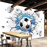 Ohcde Dheark Papel Tapiz Mural 3D Personalizadas Moderno Fútbol Simple Muro Roto Tapetes Fotográficos Niños Dormitorio Salón Decoración Creativa Papel Tapiz 430Cmx300Cm(169.3 By 118.1 In )