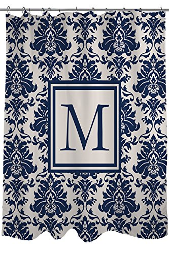 Preisvergleich Produktbild Manuelle holzverarbeiter & Weavers Vorhang für die Dusche, Monogramm Buchstabe M, Damast blau