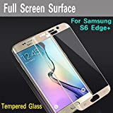 Samsung Galaxy S6 Edge Plus Tempered Glass Golden Screen Protector Edge To Edge Perfect Fit High Quality Glass 2.5D Round Edge 0.33mm Thickness 9H Hardness Oil Coated By MJ CREATION
