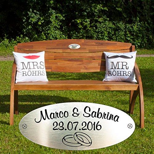 Geschenke 24: Hochzeitsbank mit Gravur aus Eukalyptus-Holz (HAIDA) – Hochzeitsgeschenk mit Wunschnamen und Datum personalisiert
