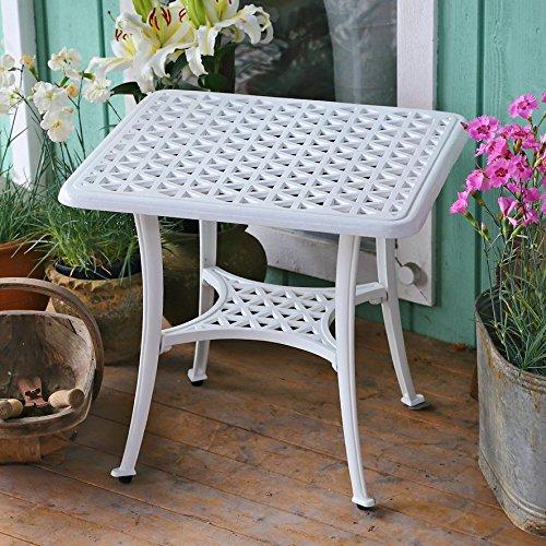 Lazy Susan – GRACE Gartenbank und SANDRA Quadratischer Kaffeetisch – Gartenmöbel Set aus Metall, Weiß (Beiges Kissen) - 5