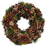 Clare Florist 34 cm Classic Christmas Wreath Festive Display with Pine Cones - Natural