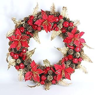 ZHongWei – Corona de Navidad Guirnalda de Navidad – Decoraciones de Navidad Colgante Decorativo de Guirnalda de Pared de árbol de la Puerta (3 tamaños, 4 Opciones) Arboles de navida