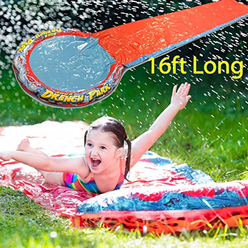 Fineway Children Kids Splash Aqua Garden Water Slide Spray With 24 Sprinklers Pool Toy 16ft Long - Must have for this Summer - With Repair Kit - Fun For Families, Friends and Pool Parties