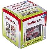 fischer DUOPOWER 8 x 65 S, universele pluggen met veiligheidsschroef, 2-componenten pluggen, kunststof pluggen voor bevestigi