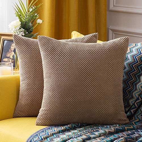 MIULEE 2er Set Granulat Kissenbezug Ananas Weiches Massiv Dekorativen Quadratisch Überwurf Kissenbezüge Kissen für Sofa Schlafzimmer Auto 22