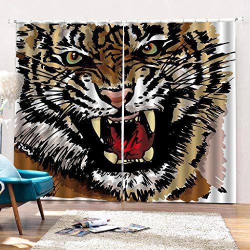 HomeAZWQ Bedroom Ring Up Fenstervorhänge Vorhänge 3D Print Effect Animal Tiger for Nursery Kids Privacy Protected-H215 X W320cm