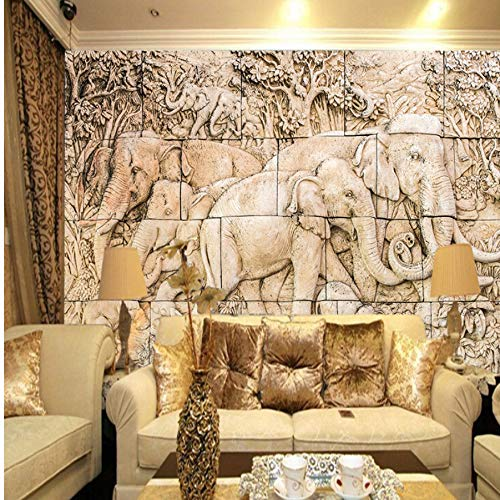 Zlywj Alivio de la Familia de Elefantes Wall Mural Wallpaper para Sala...