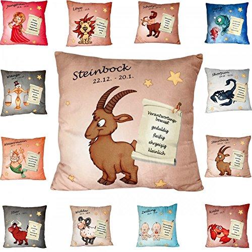 Dreamhome24 Sternzeichen Kissen Sofakissen Couchkissen Decokissen 35x35 Füllkissen Geburtstag Tierkreiszeichen, Variante:Steinbock