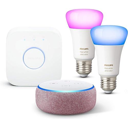 Echo Dot (3ª generazione), Tessuto malva + Philips Hue Color Starter Kit 2 Lampadine Smart (E27), compatibile con Alexa
