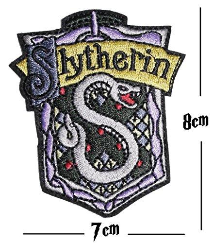 Slytherin Stickerei Patch Eisen auf oder Nähen auf Hogwarts House bestickt Motiv Harry Potter Transfer Aufnäher Slytherin Flagge
