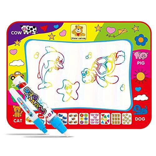 Tapis grand Magic dessin de l'eau peinture écriture tapis Pad Conseil, 4 couleurs enfants planche à dessin de l'eau et Magic Pen Doodle, cadeau pour les garçons filles enfants en bas âge