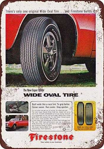 1967pneumatici firestone wide ovale vintage look reproduction metal tin sign 17,8x 25,4cm