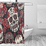 jstel Colorful Sugar Skull mit Floral Polyester-Duschvorhang Schimmel resistent und wasserfest-182,9x 182,9cm für Home Extra Lang Badezimmer Deko Dusche Bad Vorhänge Liner mit 12Haken