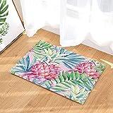 cdhbh Exotic Garden Pflanze Decor Watercolor Ananas mit Palm Blätter Bad Teppiche für Badezimmer Rutschfeste Boden Eingänge Outdoor Innen vorne Fußmatte Kinder Badteppich 39,9x 59,9cm Pink Grün