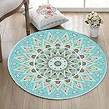 LB Blume,Mandala,Blau_Rund Fläche Teppich Wohnzimmer Schlafzimmer Badezimmer Küche Bodenmatte Inneneinrichtung,100x100 cm