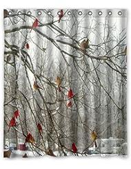 """Cortinas de ducha de moda diseño perfecto invierno árboles de abedul y Cardinals ducha cortinas 60""""x 72"""" casa modas baño baño Decor."""