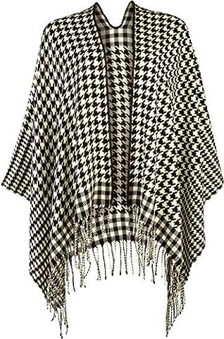 ESMARA® Damen Poncho +++ Made in Italy +++ (schwarz/weiß Hahnentritt-Muster)