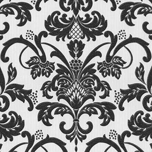 Claremont Black And White Damask Wallpaper Glitter Traditional Textured Washable 18132 20