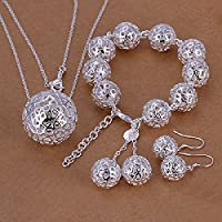 joyliveCY 2016 Fashion Women's Elegant 925 Silver Plated Jewelry Set Bracelet Necklace Earings Eardrop Ball Pendant