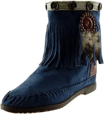 Angkorly - Chaussure Mode Bottine Botte Bottes Indiennes Folk Slip-on Femme Frange Plume clouté Talon Bloc 1.5 CM