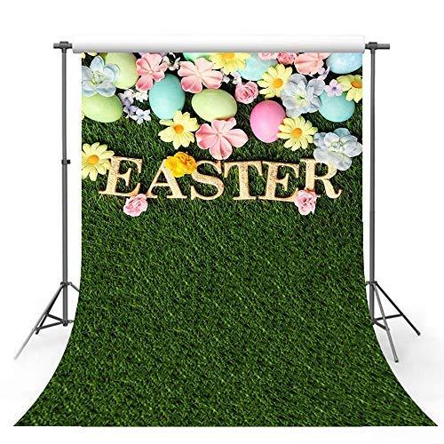 Mehofoto Fotohintergrund, Ostern, Frühling, Grasland-Blumen, Bunte Eier, Blauer Himmel, Bokeh-Zaun Gras für Kinder, Hochformat, Foto, Studio, Studio, Hintergrund, 12,7 x 2,1 m