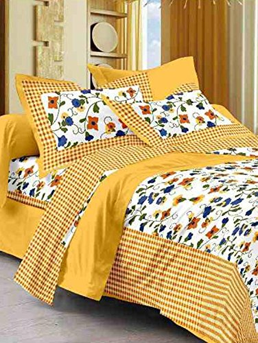 Suraaj Fashion 100!% Cotton rajasthani jaipuri sanganeri traditional king size double bed sheet with 2 Pillow Covers