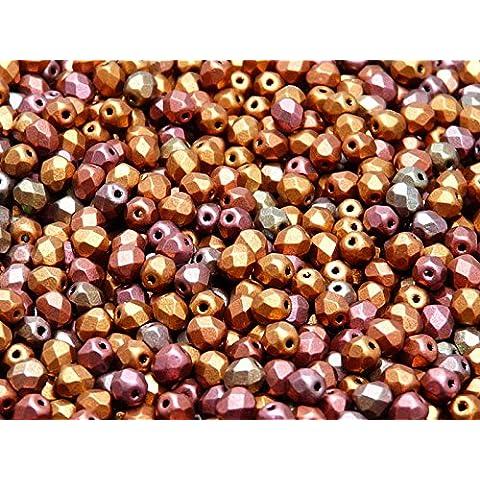100pc Ceco Perle di sfaccettato vetro, Fire-Polished Beads rotondo 4mm Violet Rainbow