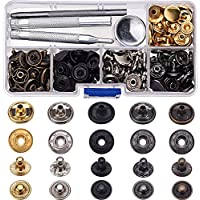60 Set de Corchetes de Presión Botones de Presión de Cobre Botones de Ropa Cuero sin Coser con 4 Piezas de Herramientas de Instalación (12,5 mm)