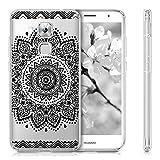 kwmobile Hülle für Huawei Nova Plus - TPU Silikon Backcover Case Handy Schutzhülle - Cover klar Blume Design Schwarz Transparent -