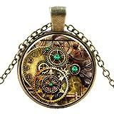 Ultra ® Antique Clock Ritzel Style Classic Unisex Steampunk Halskette Stil Unisex Gothic Cosplay Vintage Cyber Männer Frauen Schmuck Cosplay Skull Zähne Designs