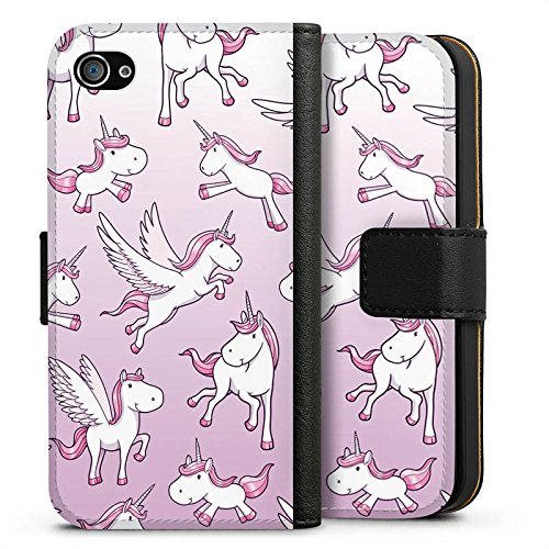 Apple iPhone X Silikon Hülle Case Schutzhülle Einhorn Unicorn Pferde Girls Sideflip Tasche schwarz