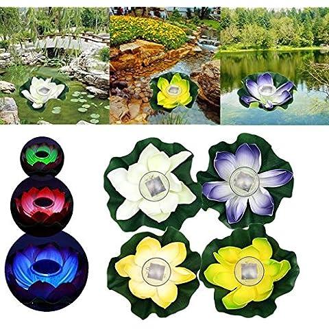 Nuovo solare con lampada LED Fiore di Loto Galleggiante Pond lampada giardino piscina